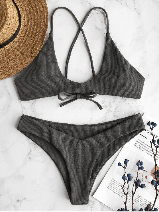 affordable ZAFUL Ribbed Criss Cross Bikini Set - GRAY CLOUD S