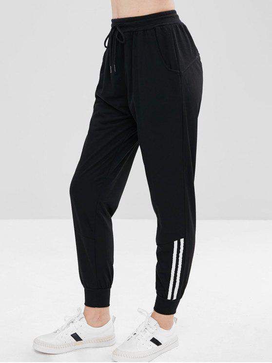 chic Striped Panel Sporty Pants - BLACK S