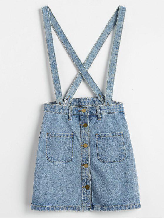 hot Button Up Jean Suspender Skirt - LIGHT BLUE XL