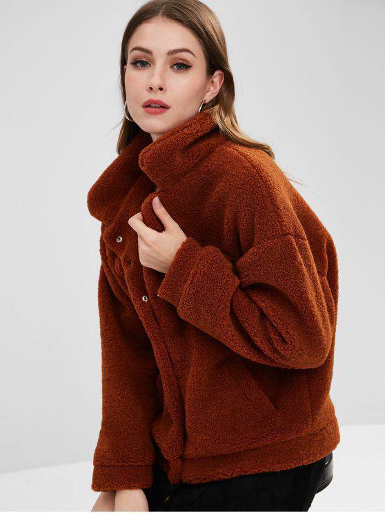 Casaco de inverno fofo Sherpa Faux Fur - Terra-de-Siena M