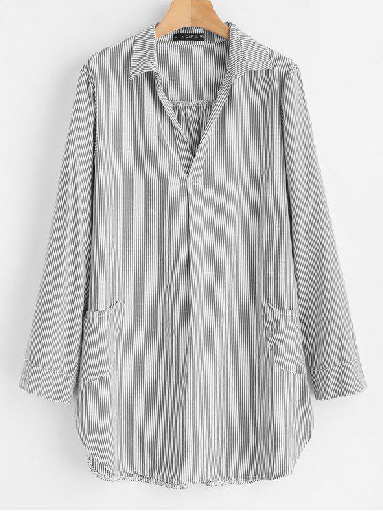 outfit Striped Mini Shirt Dress - MULTI S
