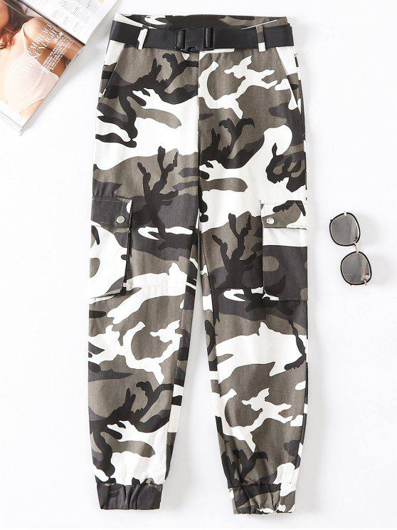 Flap Pockets Camouflage Jogger Pants - Multicolor-B L