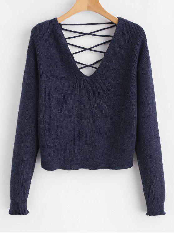 online V Back Lace Up Sweater - DEEP BLUE L