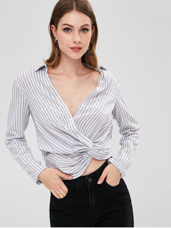 fashion ZAFUL Twist Striped Crop Blouse - WHITE L