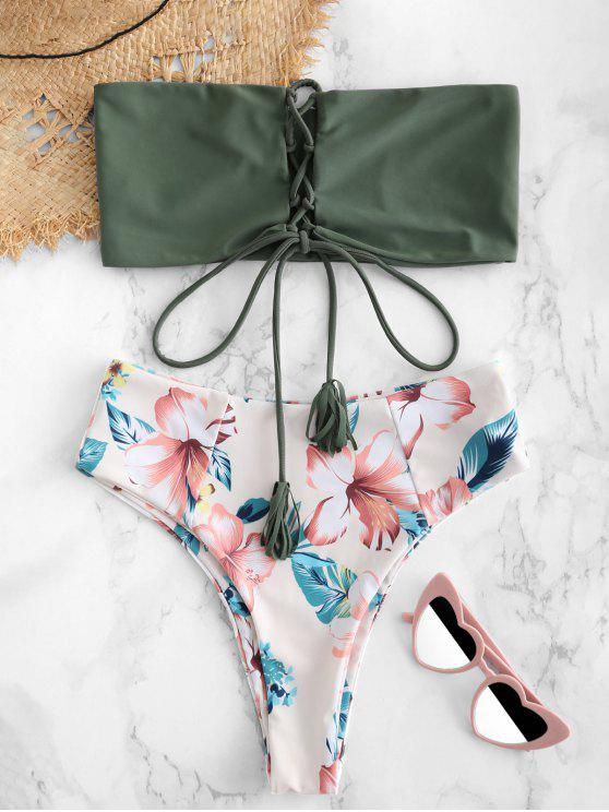 unique ZAFUL Flower Lace Up Bralette Bikini Set - CAMOUFLAGE GREEN S