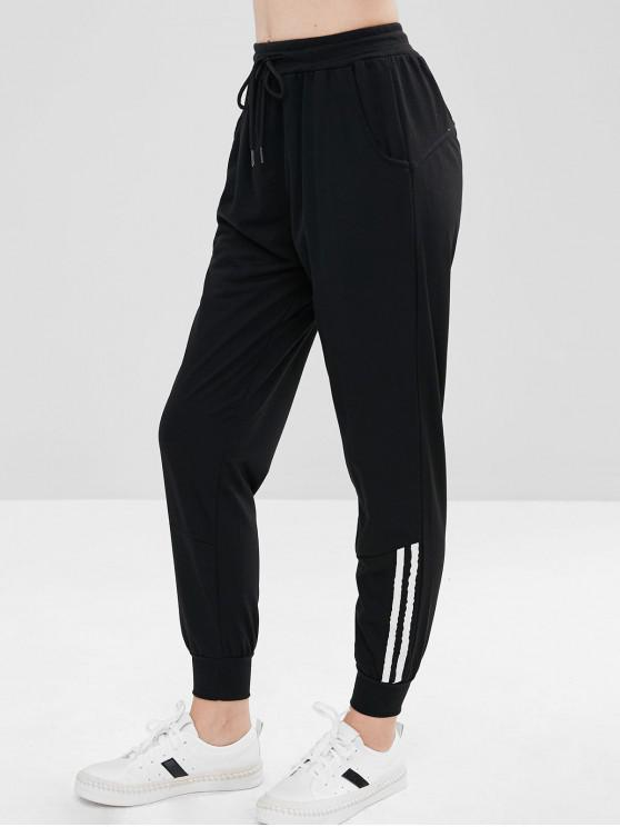 chic Striped Panel Sporty Pants - BLACK S