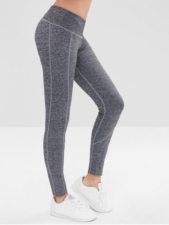 fashion High Waisted Marled Sports Leggings - GRAY M