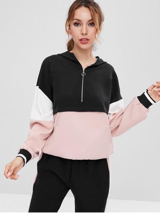 affordable Color Block Half Zip Drawstring Hoodie - BLACK S