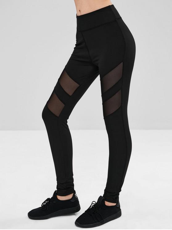 Sheer Mesh Panel Leggings BLACK