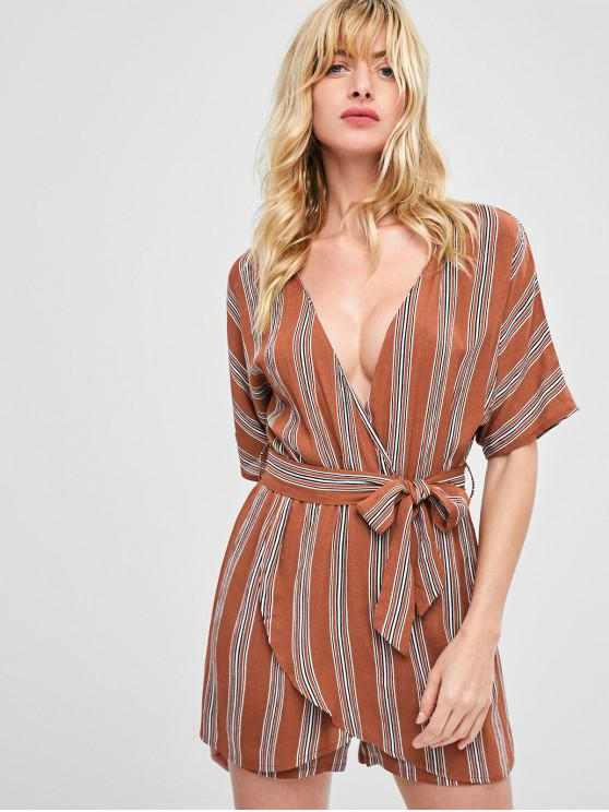 outfit Stripes Belted Overlap Romper - LIGHT BROWN L