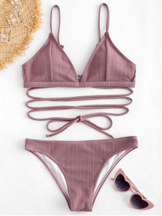womens ZAFUL Tie Ribbed Bikini Set - WISTERIA PURPLE S