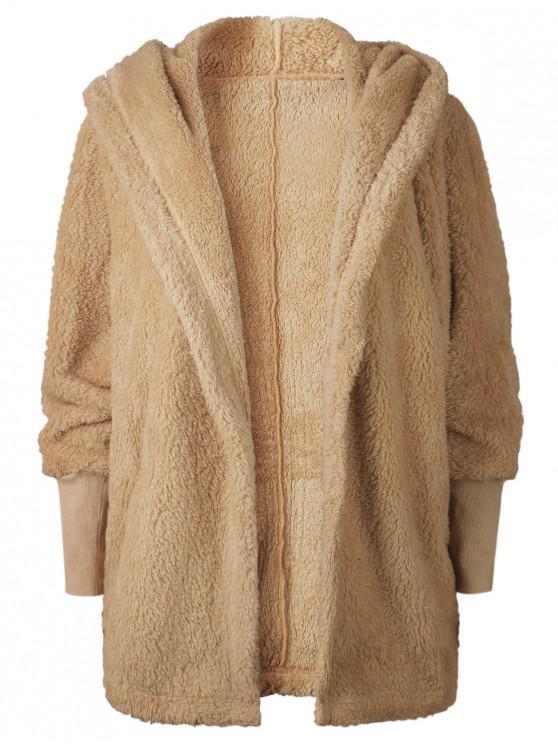 women Oversize Open Front Furry Coat - LIGHT BROWN S