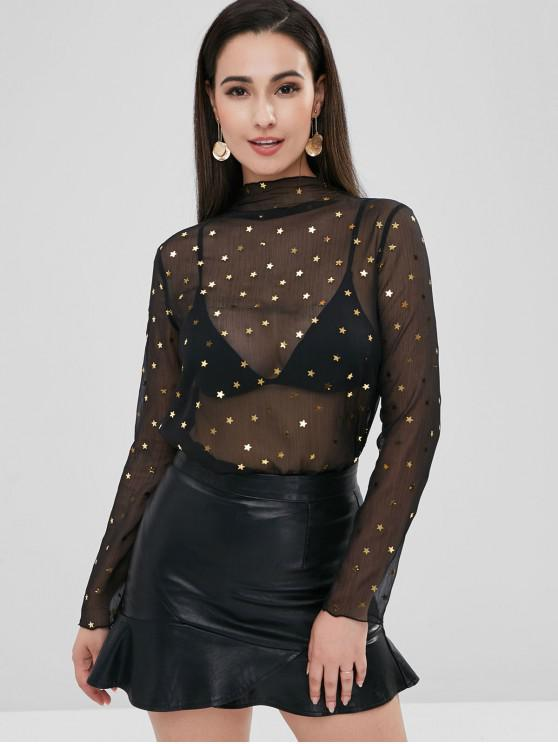 Zaful estrelas ver através de blusa de pescoço alto - Preto M