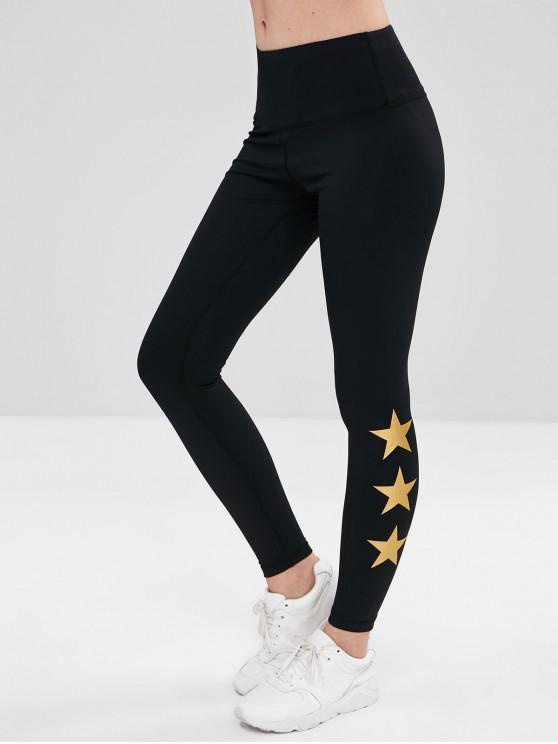 fashion ZAFUL Star High Waisted Workout Leggings - BLACK S