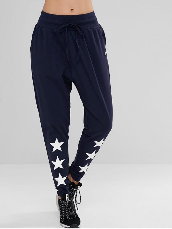chic ZAFUL Drawstring Star High Waisted Pants - CADETBLUE M