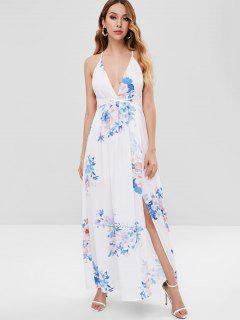 Print Criss Cross Backless Dress - White M