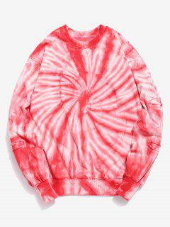 Flower Tie Dye Print Sweatshirt - Fire Engine Red S