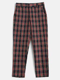 Plaid Zipper Pants - Multi M