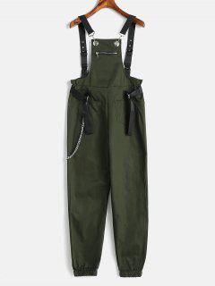 Front Pocket Chain Embellished Overalls - Army Green M