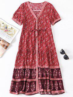 Tiny Floral Button Up Dress - Red M