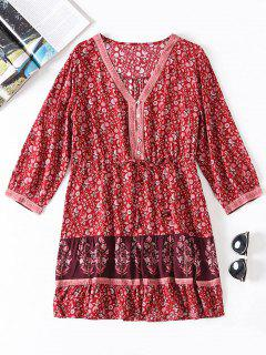 Tiny Floral V Neck Dress - Red M