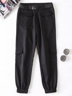 Pantalones Jogger Con Cinturón - Negro M