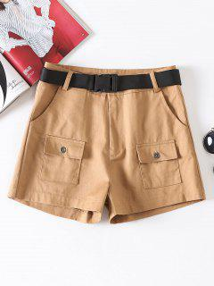 Zipper Fly Belted Shorts - Camel Brown M