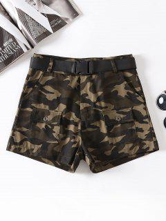 Camouflage Belted Shorts - Acu Camouflage M