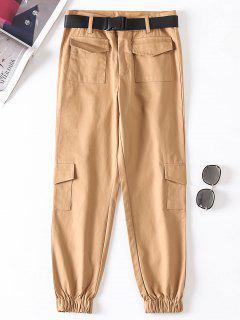 Jogger Pants With Belt - Light Khaki L