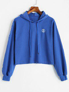 Drawstring Graphic Cropped Hoodie - Royal Blue