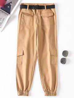 Jogger Pants With Belt - Light Khaki M
