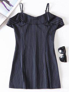 Pinstriped Ruffle Cami Dress - Dark Slate Blue M