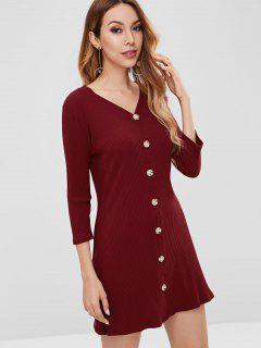 Mini Vestido Acanalado Abotonado - Vino Tinto M