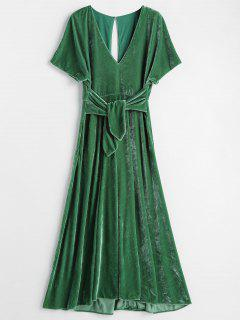 Plunge Knot Velvet A Line Midi Dress - Deep Green L