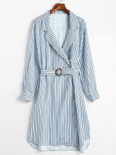 Asymmetric Slit Striped Dress - Multi S