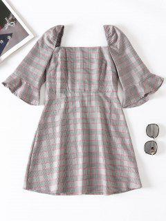 Square Collar Shirred Plaid Dress - Multi M
