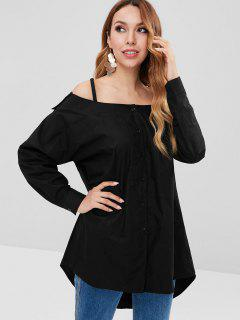 Cold Shoulder High Low Blouse - Black S