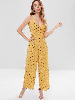 Stars Wide Leg Jumpsuit - Golden Brown S