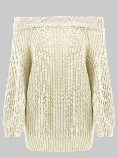 Off Shoulder Chunky Sweater - Beige