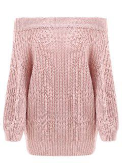 Off Shoulder Chunky Sweater - Light Pink