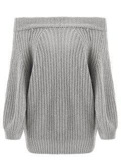Schulterfrei Chunky Sweater - Grau