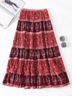 Floral A Line Maxi Skirt - Red M
