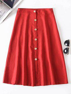 A Line Buttoned Skirt - Cherry Red L