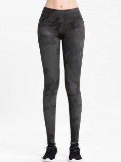 High Rise Camo Sports Leggings - Dark Gray S