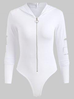 Hooded Slashed Sleeve Snap Crotch Bodysuit - White M