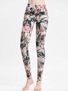 Floral Deer High Waisted Sports Leggings - Multi S