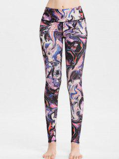High Waisted Abstract Print Sports Leggings - Multi L