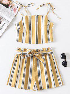 Striped Tie Two Piece Set - Goldenrod L
