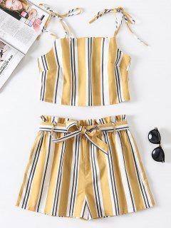 Striped Tie Two Piece Set - Goldenrod S