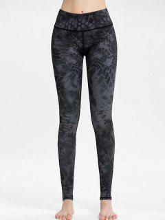 High Waisted Printed Workout Leggings - Gray L
